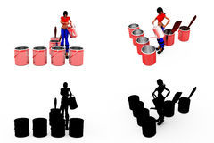 3d woman paint concept Collections With Alpha And Shadow Channel Stock Photo