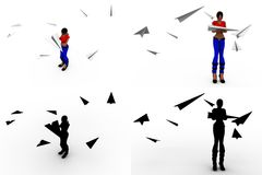 3d woman paper plane Concept Collections With Alpha And Shadow Channel Stock Photos