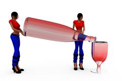 3d woman party concept Royalty Free Stock Images