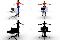 3d woman with pc Concept Collections With Alpha And Shadow Channel Royalty Free Stock Photography