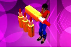 3d woman pen illustration Stock Photography
