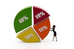 3d woman percent graph concept Stock Photography
