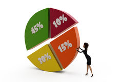 3d woman percent graph concept Stock Images