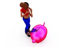 3d woman piggybank concept Royalty Free Stock Photography