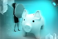 3d woman with piggybank illustration Stock Photography