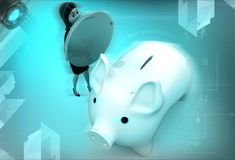 3d woman with piggybank illustration Royalty Free Stock Images