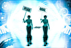 3d woman plan goal sing board illustration Stock Photo