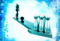 3d woman play bowling on arrow illustration Stock Photos