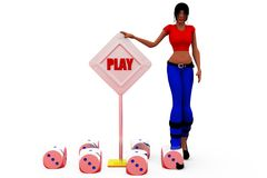 3d woman play concept Stock Photography