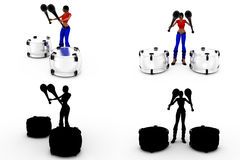 3d woman play drum Concept Collections With Alpha And Shadow Channel Royalty Free Stock Image