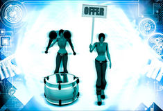 3d woman play drum and offer sing board illustration Stock Photos
