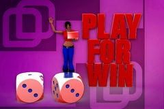 3d woman play for win illustration Stock Image