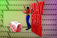 3d woman play for win illustration Royalty Free Stock Photos
