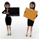 3d woman pointin at laptop and holding file concept Royalty Free Stock Photography