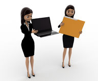 3d woman pointin at laptop and holding file concept Royalty Free Stock Photo