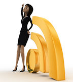 3d woman pointing it to up with wifi icon concept Royalty Free Stock Images
