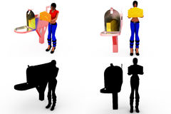 3d woman post box concept Collections With Alpha And Shadow Channel Royalty Free Stock Photo