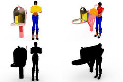 3d woman post box concept Collections With Alpha And Shadow Channel Royalty Free Stock Images