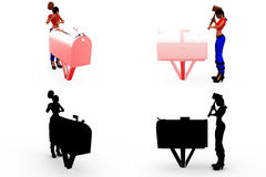 3d woman post box concept Collections With Alpha And Shadow Channel Royalty Free Stock Image