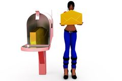 3d woman post box concept Royalty Free Stock Images