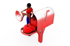 3d woman post box concept Stock Photo