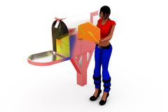 3d woman post box concept Stock Image