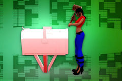3d woman post box illustration Royalty Free Stock Photo
