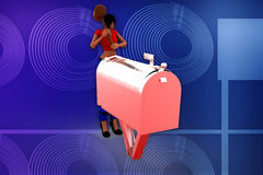 3d woman post box illustration Stock Photos