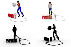 3d woman power Concept Collections With Alpha And Shadow Channel Stock Image