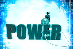 3d woman with power text and plug illustration Royalty Free Stock Photography