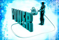 3d woman with power text and plug illustration Stock Image