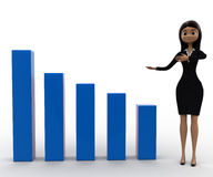 3d woman present big blue bar graph concept Royalty Free Stock Photo