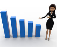 3d woman present big blue bar graph concept Royalty Free Stock Image