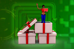 3D woman in a present box illustration Stock Images