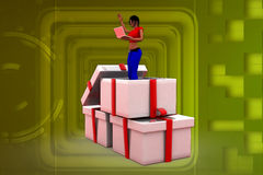 3D woman in a present box illustration Royalty Free Stock Photo