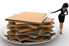 3d woman present file folders in dish concept Stock Photography