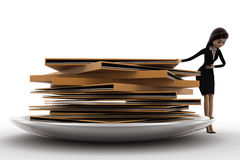 3d woman present file folders in dish concept Royalty Free Stock Photography