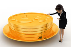 3d woman present golden coin in golden dish concept Stock Images