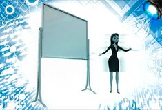 3d woman present presentation on abstract empty board illustration Royalty Free Stock Photo