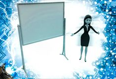 3d woman present presentation on abstract empty board illustration Stock Photography