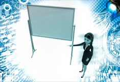 3d woman present presentation on abstract empty board illustration Royalty Free Stock Photos