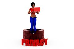 3d woman privacy concept Stock Photography