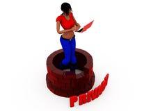 3d woman privacy concept Stock Photos