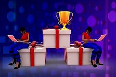 3D woman prize box illustration Stock Photos