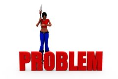 3d woman problem concept Stock Photos