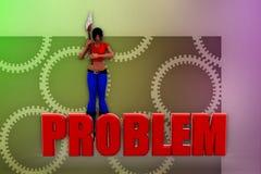 3d woman problem illustration Stock Photos