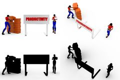 3d woman productivity Concept Collections With Alpha And Shadow Channel Stock Image