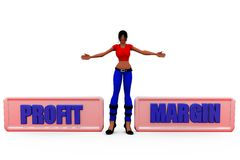3d woman profit margin concept Royalty Free Stock Images
