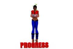 3d woman progress plant concept Royalty Free Stock Photos