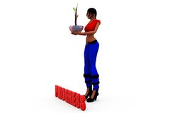 3d woman progress plant concept Royalty Free Stock Image